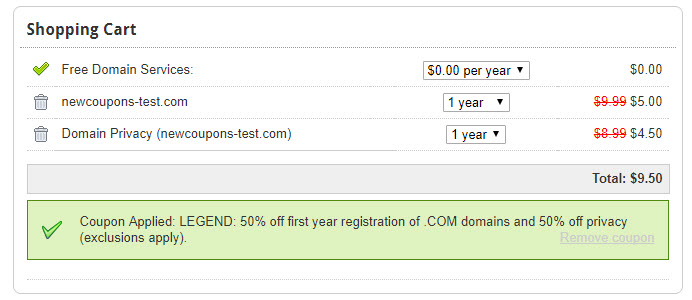 Save 50% on new .Com domain name + privacy at Domain.Com