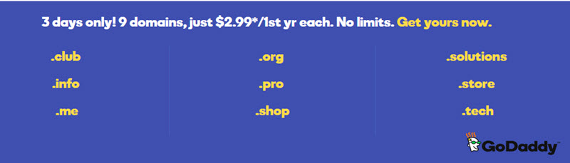 GoDaddy 09 domains on sale, just $2.99/year for 3 days only