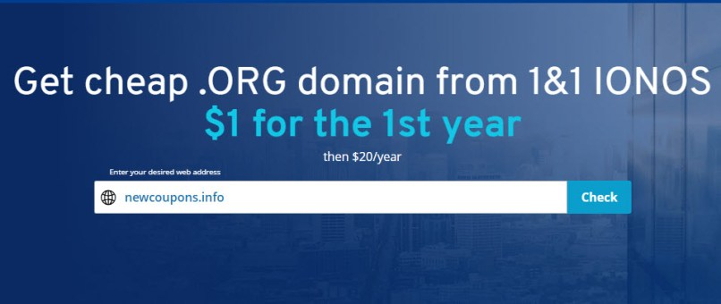 Get a .ORG For Just $1 at 1&1 IONOS - Free Whois Privacy