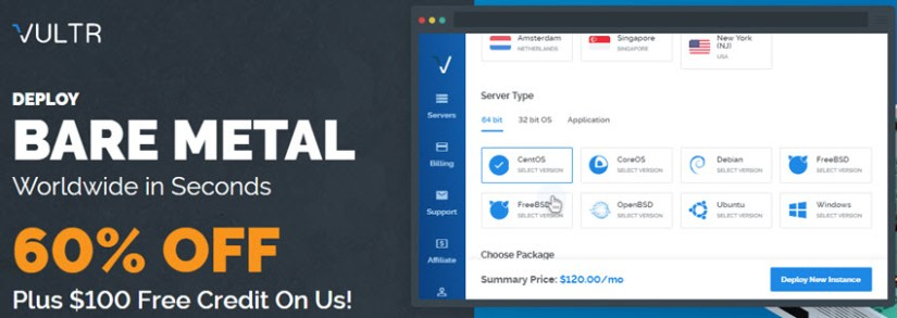 Vultr Coupon - Free Up to $103 + 60% Off - November 2018