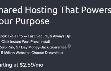 dreamhost shared starter web hosting plan