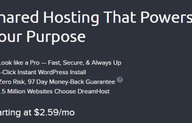 dreamhost shared starter web hosting plan
