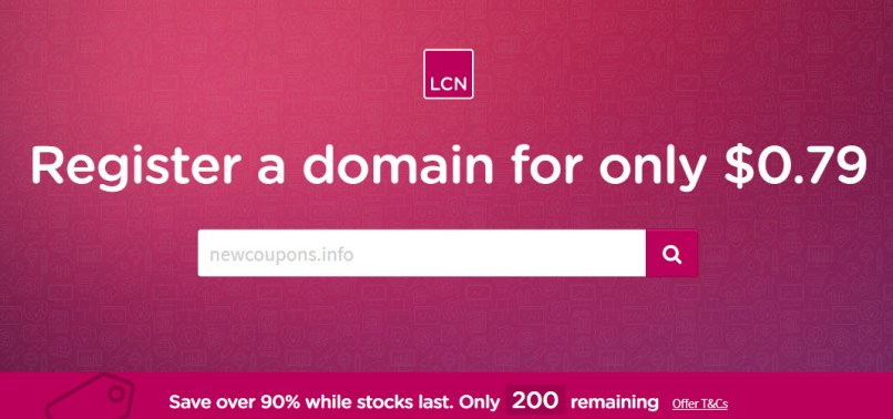 Get a Domain Name For Just $0.79 at LCN, including .COM/.NET