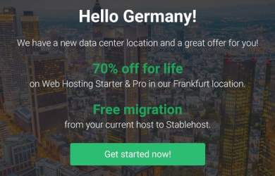 stablehost 70 off Frankfurt Germany location