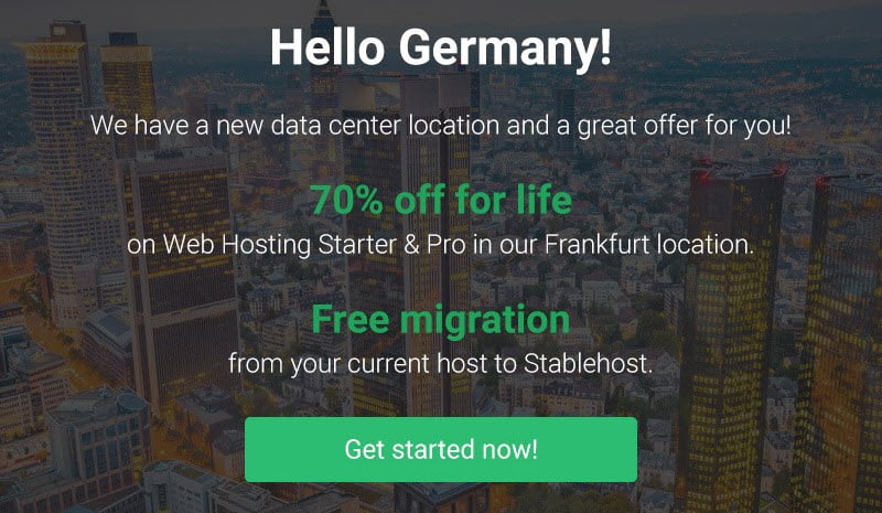 StableHost Offer 70% Off For Life in Frankfurt(Germany) Location