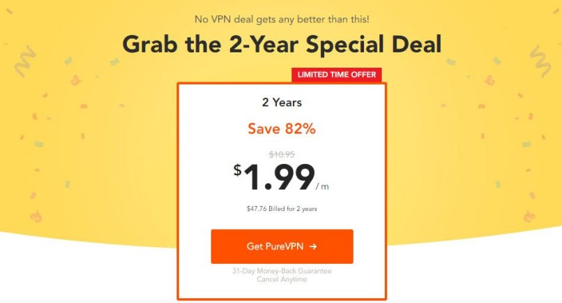 82% OFF | $47.76 PureVPN 2 Year Plan Offer On April 2020