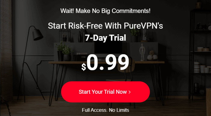 PureVPN Trial Account - Not Free But Only $0.99