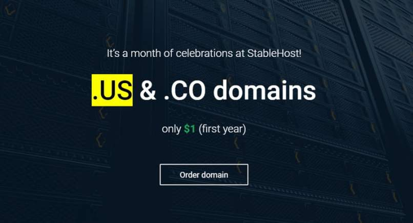 Register .CO & .US For Only $1 From StableHost