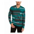 Alfani Men's Textured Striped V-Neck Sweater Green Size Large for $94