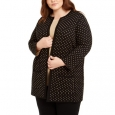 Anne Klein Women's Plus Size Metallic Polka-Dot Cardigan Sweater Black Size 2 Extra Large for $219