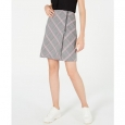 Bar III Women's Zipper-Detail Plaid Skirt Gray Size 16 for $94