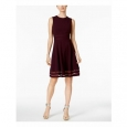Calvin Klein Women's Illusion-Trim Fit & Flare Dress Regular & Petite Sizes Purple Size 6 for $119