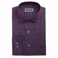 Club Room Men's Classic Fit Stretch Twill Houndstooth Plaid Dress Shirt Red Size 17X34-35 for $94
