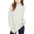 Crave Fame Juniors' Women's Turtleneck Cable Knit Sweater Silver Size Extra Small for $94