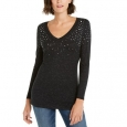 INC International Concepts Women's Petite Embellished Shine V-Neck Top Black Size Small for $94