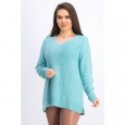 Karen Scott Women's Cotton Mixed-Stitch Sweater Aqua Size Extra Large for $94