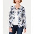 Karen Scott Women's Leaf-Print Cardigan Gray Size 2 Extra Large for $94