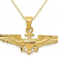 Large US Naval Aviator Badge Pendant Necklace in 14K Yellow Gold with Chainin for $269