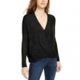 Polly & Esther Juniors' Women's Surplice-Neck Top Black Size Medium for $23