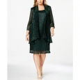 R & M Richards Women's Plus Size Shift Dress & Metallic Jacket Green Size 14 for $119