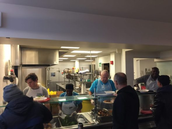 L-R: Snow day servers were volunteer Daniel Gutman, Weekend New Covenant Chef Rene Alexander, CCFC President Al Barber, and NCCenter Food Pantry Coordinator Raphael Hilaire.