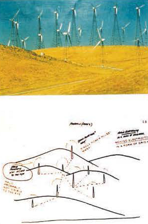 "(Top) Remote viewing target site was Livermore Valley Foothills Windmill Farm. Below is sketch by Viewer a hundred miles away, showing poles, hills, ""moving electricity in the form of a grid"" and ""halo probably not visible to the eye,"" at the top of the poles. Remote Viewer: Joseph McMoneagle. Trial was carried out with Dr. Edwin C. May in 1987. Graphic courtesy of Russell Targ."