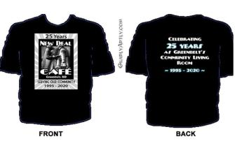 New Deal Cafe 25th anniv T-shirt