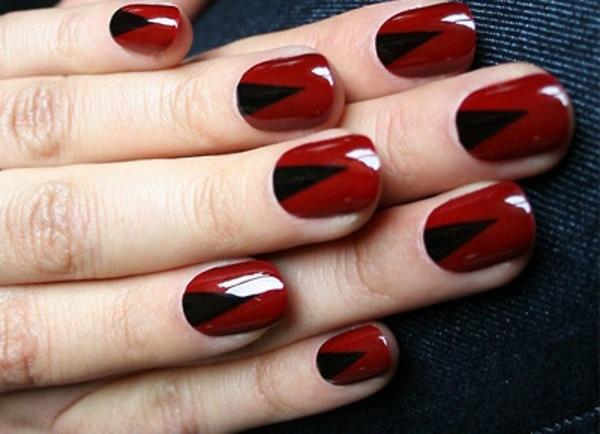 Red V Shaped Nail Art Design