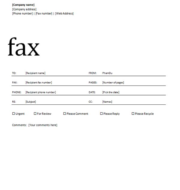 Office Fax Template Vosvetenet – Fax Template Free