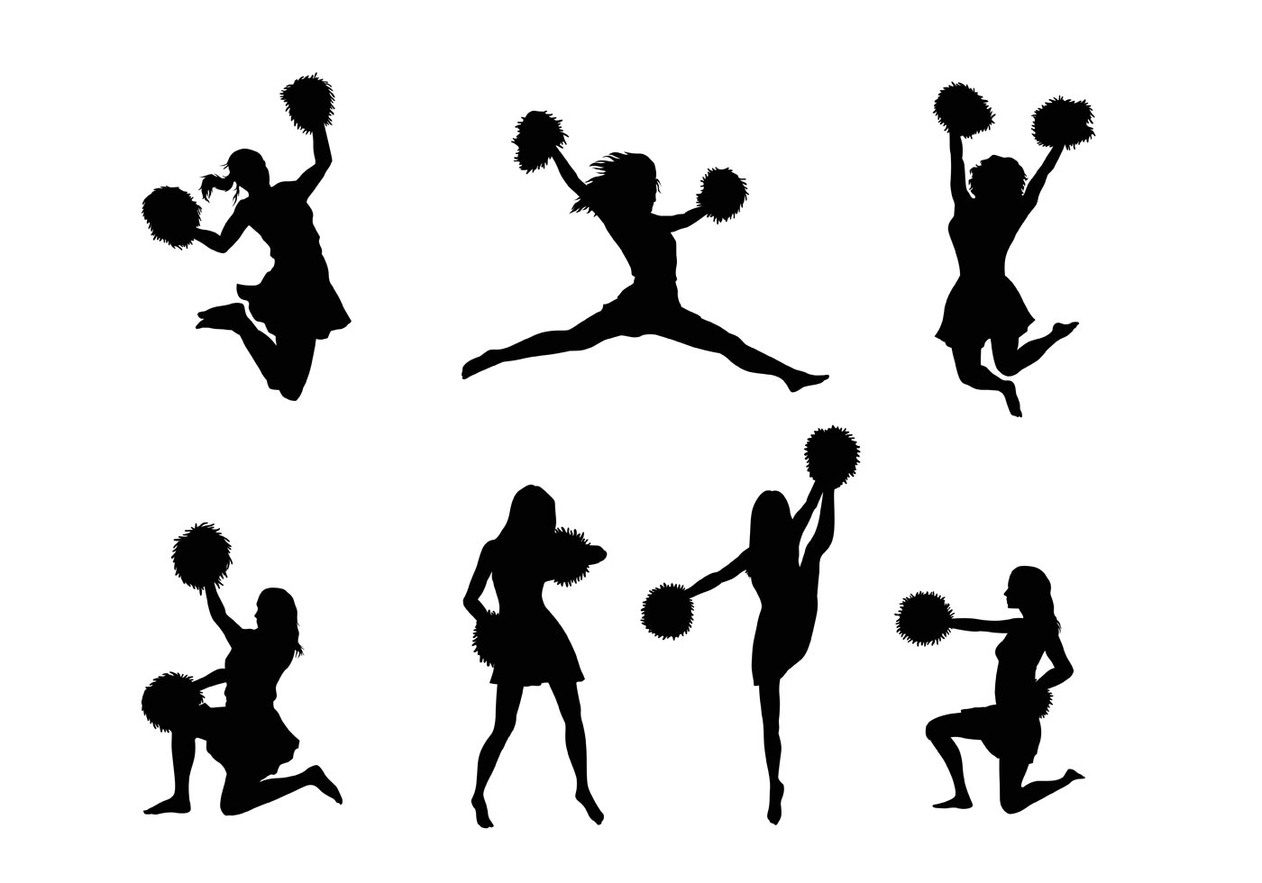 12 Cheerleading Silhouette Vectors Arts Images