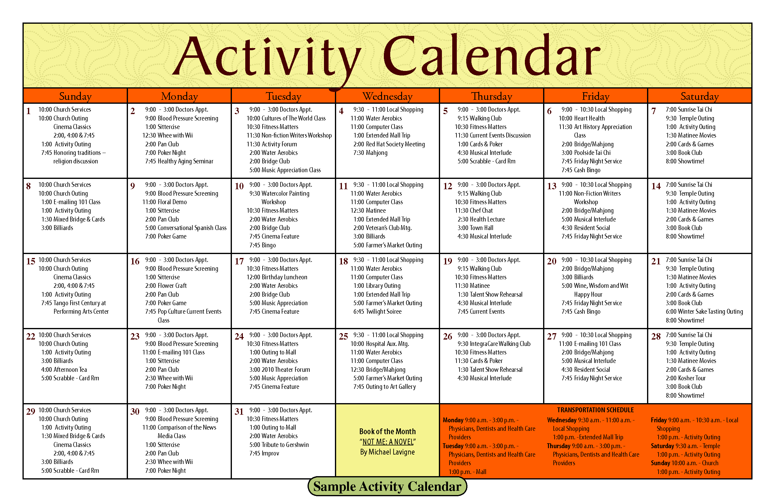 14 Blank Activity Calendar Template Images