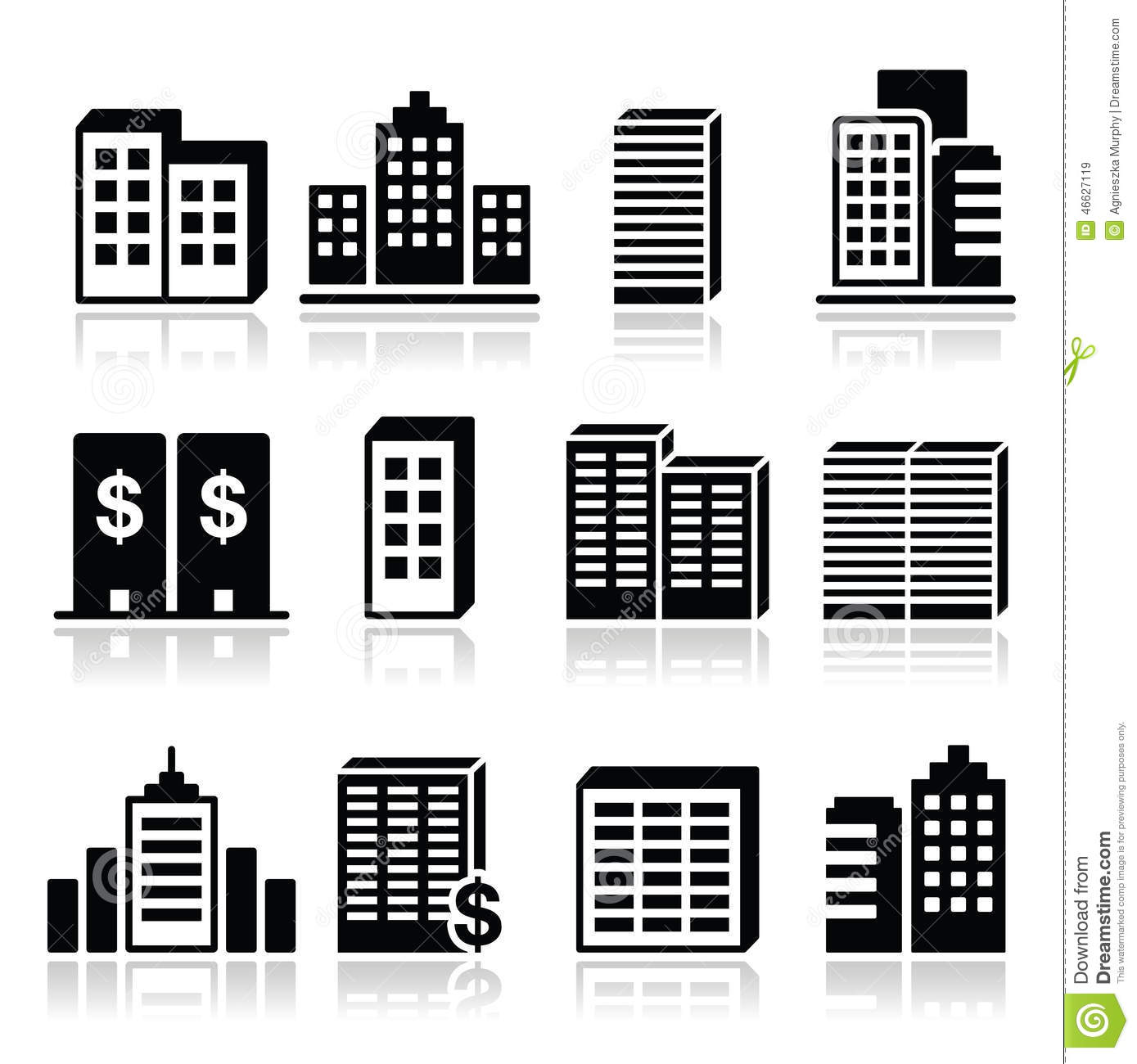 12 Icon Building Block Business Images