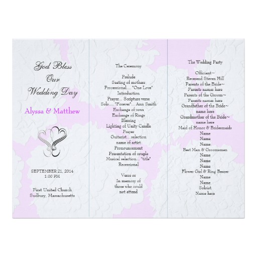 beautiful tri fold wedding program templates pictures awesome