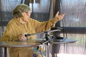 Marg Whyte, 85 year old author and illustrator of the book Death of a River, speaks to the Inquiry panel in Wentworth