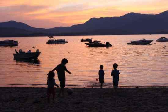 Sunset at webb lake - camping while the kids play