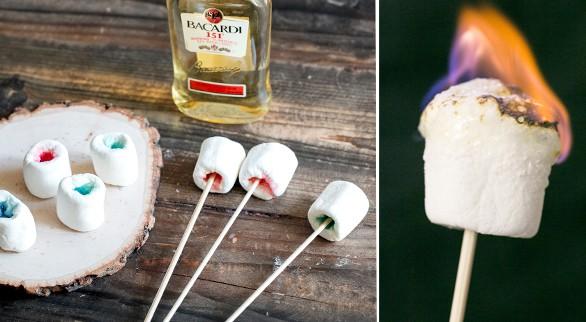 Marshmallow Jello Shots Flaming