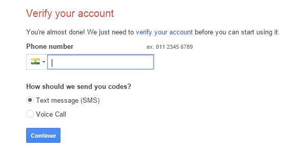 verify mobile number with gmail
