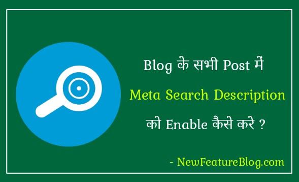blog ke har post me meta search description ko enable