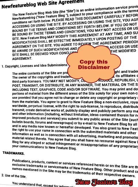 Newfeatureblog.com copy disclaimer