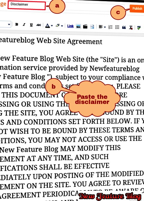 Newfeatureblog.com paste the disclaimer in body