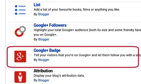 select google + badge