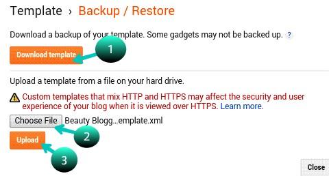 download template, choose file, upload