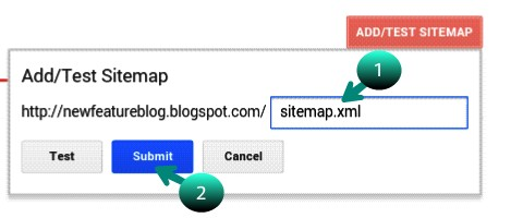write sitemap.xml in box and click on submit