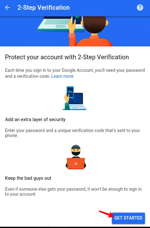 click on get started button to enable 2 step verification