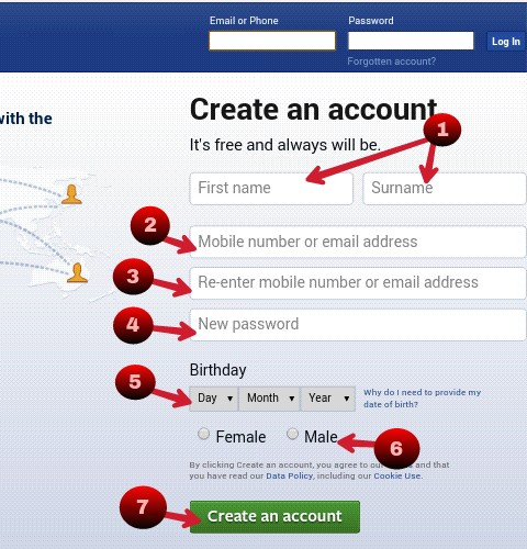 Fillup your information correctly in fb registration page