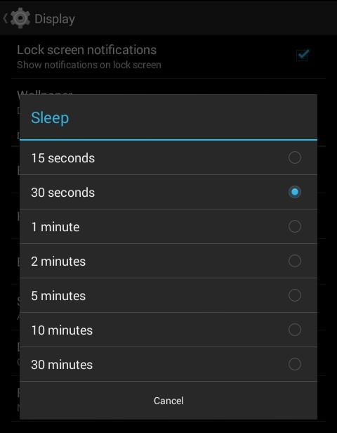 minimize screen light timeout