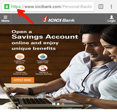 you can see icici bank account open with https
