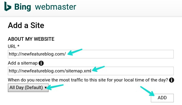 blogger sitemap क bing webmaster tool म add य submit