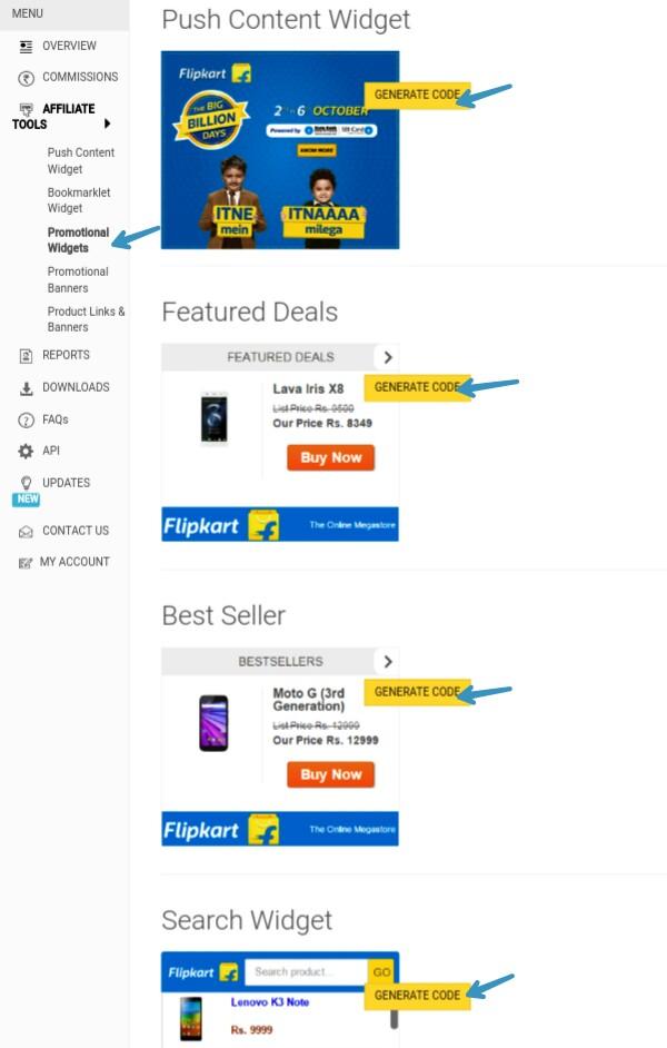 generate-flipkart-promotional-widgets-code