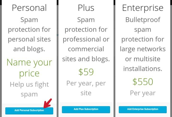 choose the price of akismet anti spam